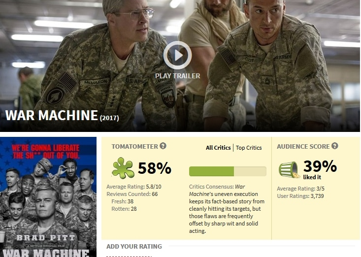 War Machine on NEtflix