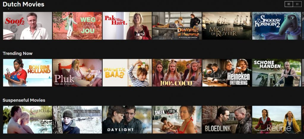 Lots of Dutch content on Netflix in the Netherlands