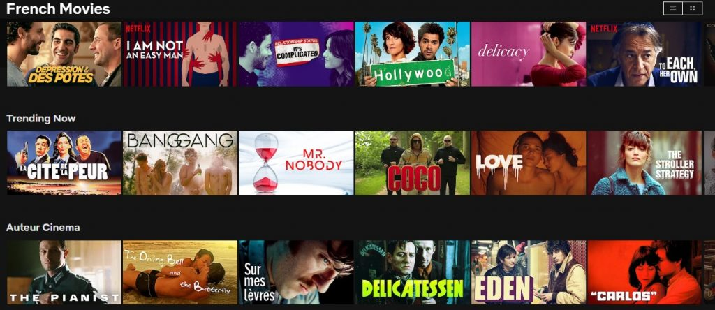 Lots of French content available on Netflix in France