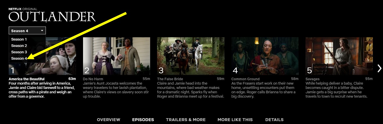 You can stream Outlander season 4 on Netflix