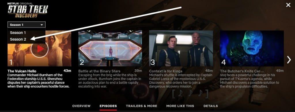 How can I watch Star Trek Discovery season 2 on Netflix?