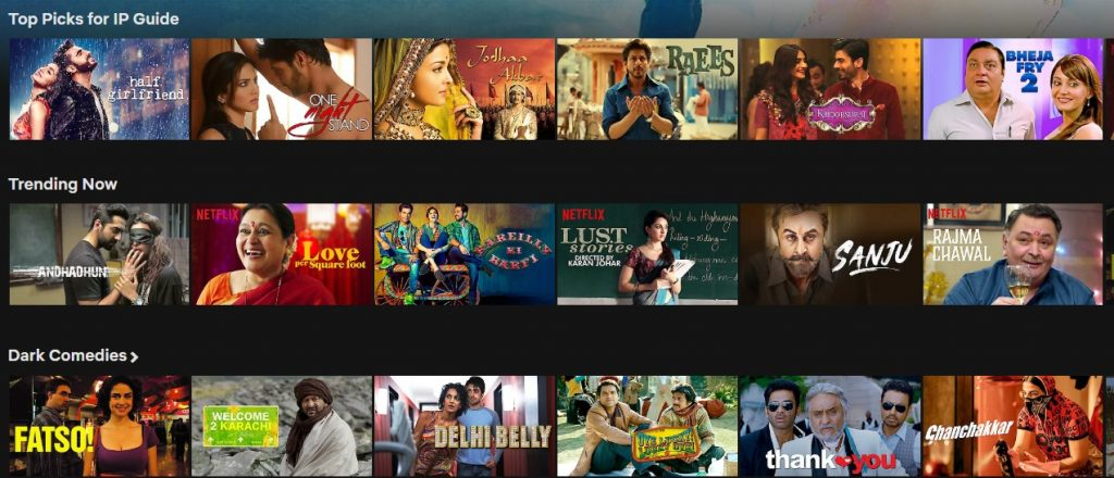 Bollywood movies on Indian Netflix