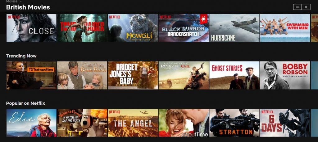 British content on Netflix in the UK