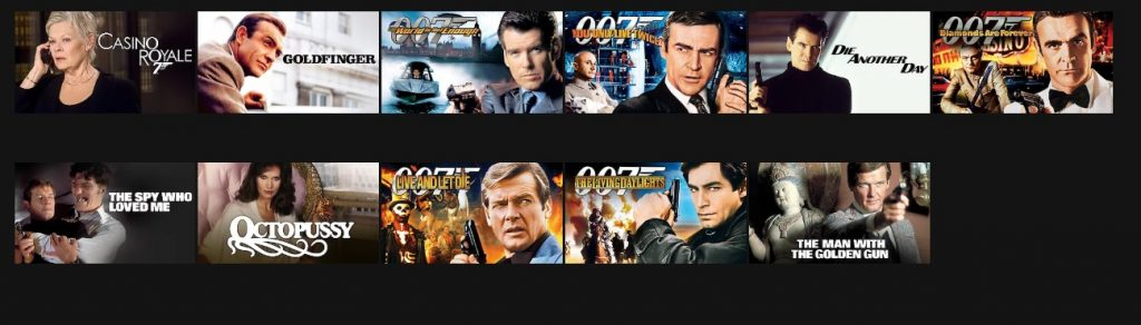 James Bond movies on US Netflix since February 1st 2019
