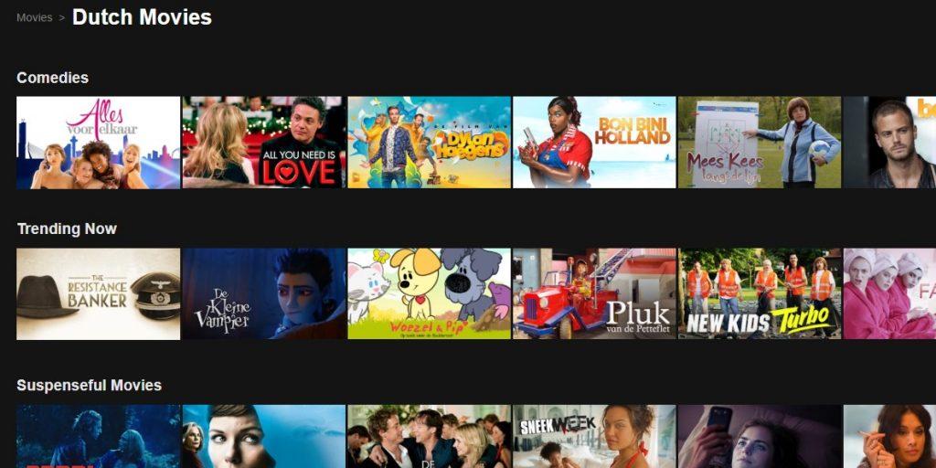 Watch lots of Dutch movies on Dutch Netflix using a VPN