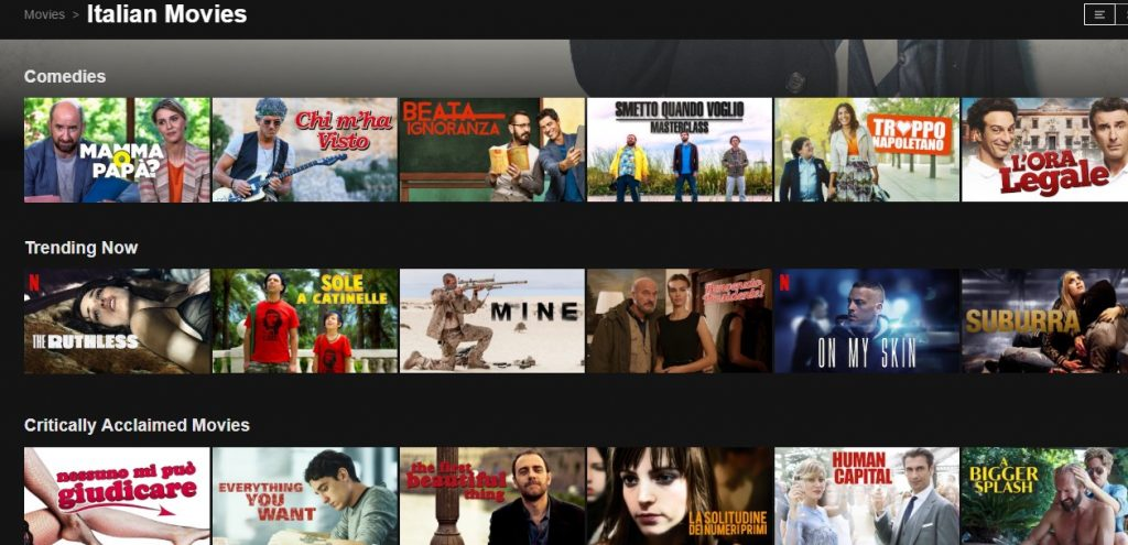 Lots of Italian movies available on Netflix in Italy. And yes, you can access it with Surfshark VPN.