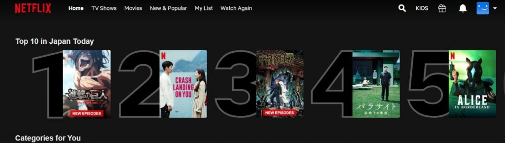 Top 10 in Japan on Netflix